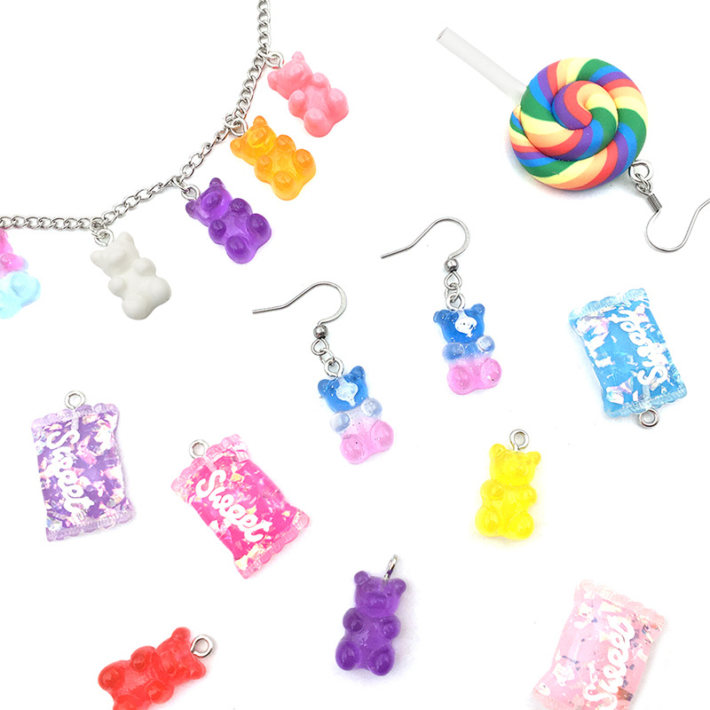 $9.5 /32pcs Candy Gummy Charms Colorful Sweet Candy Pendant Bear Moon Charms Polymer Clay Lollipop Shape Charm  DIY Jewelry Make