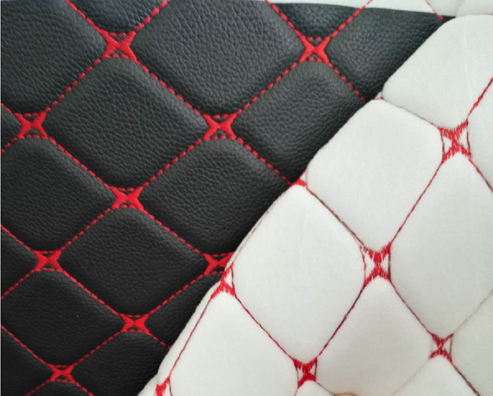 embroidery quilted PVC artificial synthetic leather with sponge