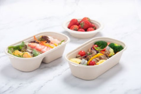 Home Hotel Restaurant Use Degradable Pulp Lunch Box Natural and White Color 125 Packs Sample Available