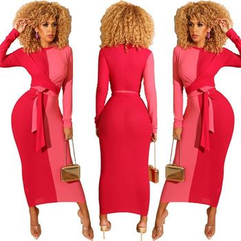 K-G169 brand new long sleeve casual woman patchwork bandage maxi bodycon dress