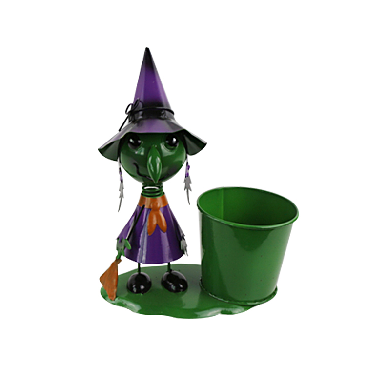 Halloween witch decoration metal planter pot,friendly outdoor Halloween decorations figure garden decor flower pot