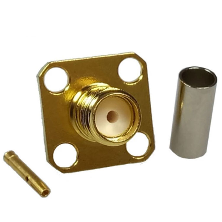 Factory Price 50ohm Straigh SMA Female Panel Mount Connector With 4 <strong>holes</strong>