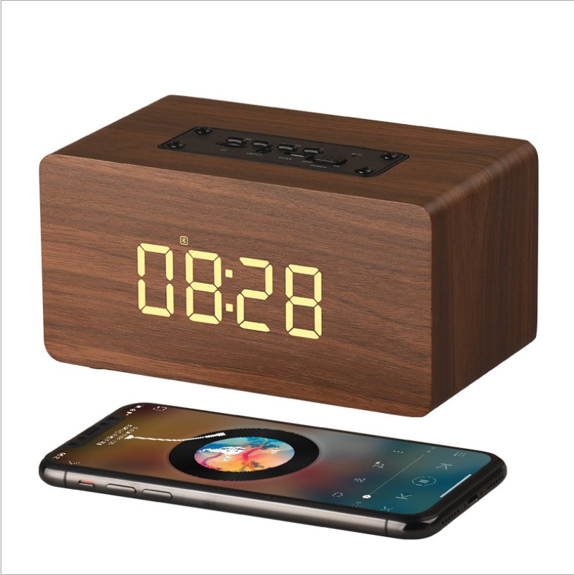 HiFi Wireless Bluetooth Speaker Retro Wooden Portable Touch Speaker with 2 Sets of Alarm Clock LCD <strong>Screen</strong>