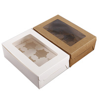 Wholesale 6 pcs Cupcake Boxes Custom Food Grade Kraft Paper Packaging Rectangle Window Boxes For Cupcake
