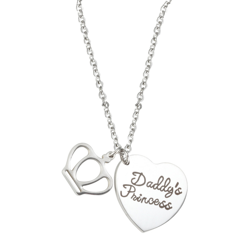 Stainless steel heart shape crown Father's Day letter nameplate diffuser custom pendant necklace