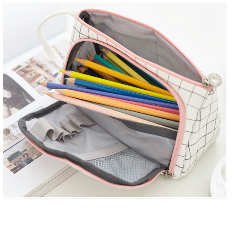 Girl Adult Student Large Storage Big Capacity Pencil Pen Case Bag Pouch Holder For Middle High School Office College