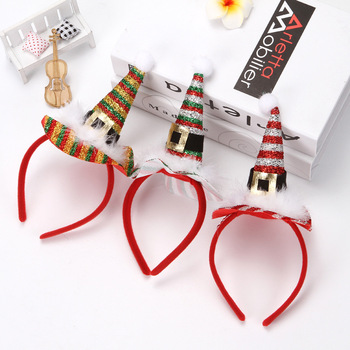 stripe glitter christmas hair accessories girl mini santa hat headband xmas hair band