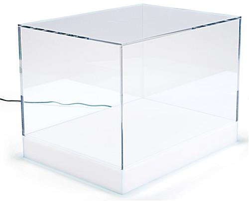 <strong>16</strong> <strong>x</strong> <strong>12</strong> Countertop Display Case <strong>w</strong>/ <strong>16</strong>-Color LED Base Acrylic Lift-Off Top - Clear