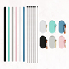 Wholesale Reusable Silicone Collapsible Drinking Straws Travel Case With Brush