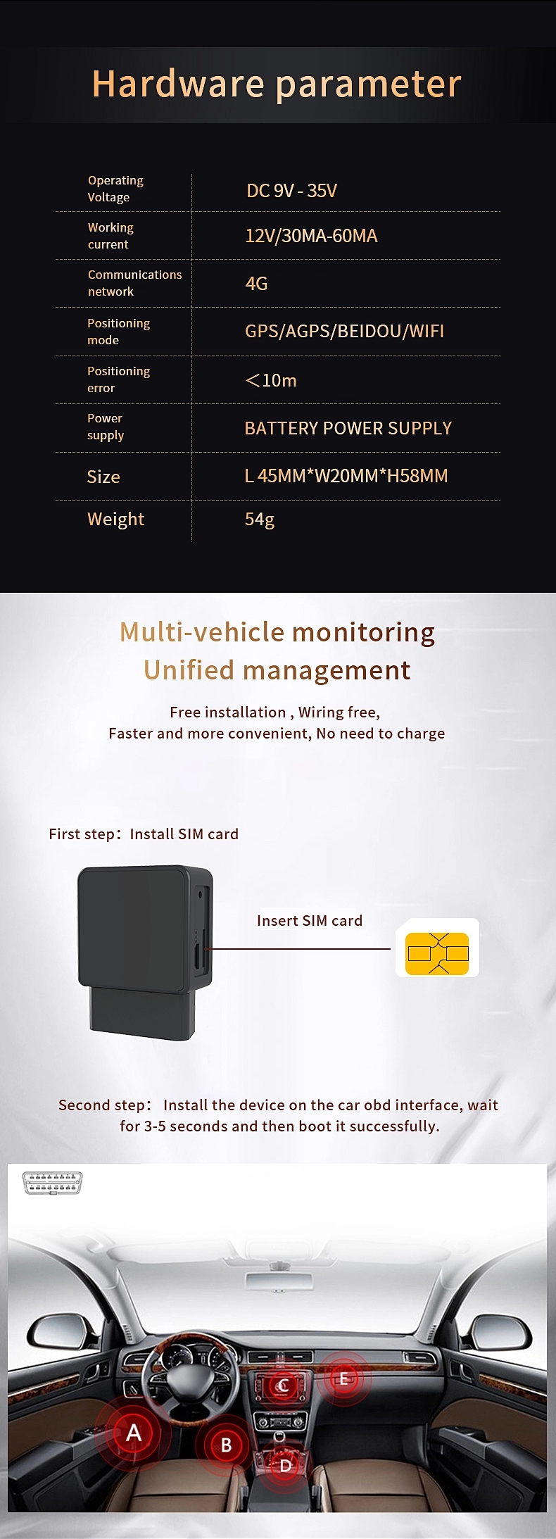 4G LTE OBD GPS Tracker C005 GPS Real-time Tracking Chip