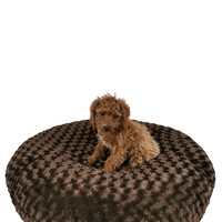 High quality pet supplies products fluffy dog beds washable warm comfy Shag Cuddler donut round luxury dog bed