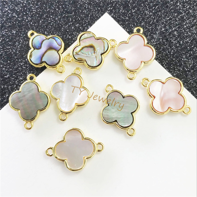 A pendant in the shape of clover natural white color abalone shell beads connector for choker necklace for earring