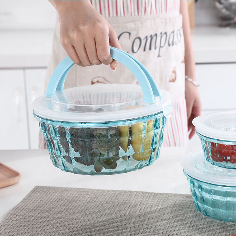 3PCS ROUND <strong>Plastic</strong> Fresh Keeping Crisper Refrigeration Food Storage Container PP storage BPA free