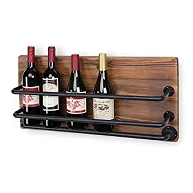 Floating Wine Shelf and Wall Mounted Glass Rack Set Wine glass bottle hang shelf