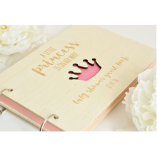 Custom A4 wood engraved <strong>crown</strong> Kraft Paper Notebook / Photo ALBUM / Hand-painted Graffiti Day / DIY Wedding guest book sign books