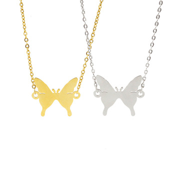 Stylish Unique Jewelry Gold Silver Hanging Butterfly Shape Fashion Stainless Steel Women Pendant Necklace