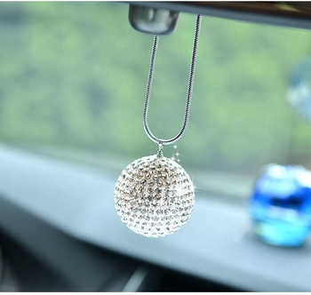 Bling 35mm rhinestone ball lady car inerior hanging accessories