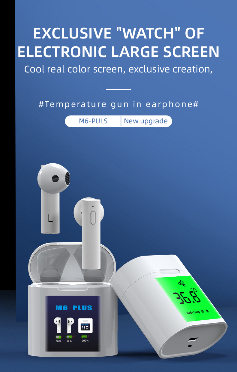 Portable Body Temperature Measurement Wireless Bluetooth Earphones M6 Plus TWS Earbuds Led Power Display Headphone