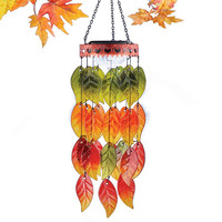 colorful autumn leaves solar light wind chimes garden decoration