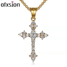 AFXSION Wholesale Religious Ravishing iced out cross rhinestone necklace <strong>pendant</strong>
