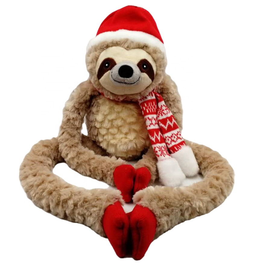 Hot selling children gift fashion high quality soft <strong>plush</strong> toy 32&quot;L Christmas soft toys sloth w/hat&amp;scarf