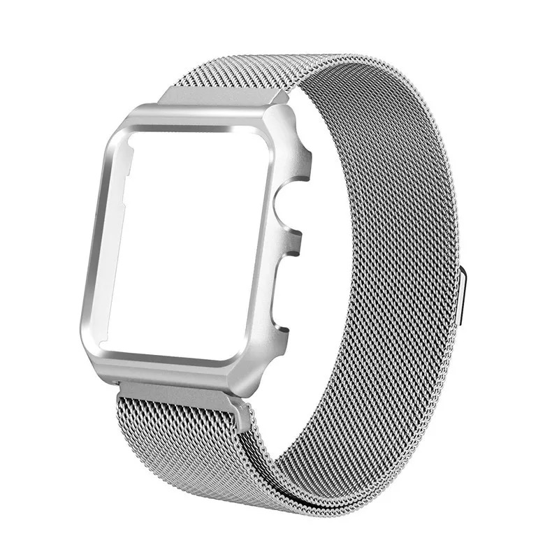 Stainless milanese loop with case watch band, wrist for Apple Watch,For Apple Watch 4 Magnetic Milanese with Case 40/44mm