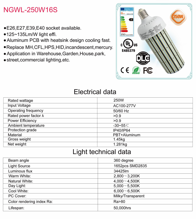 UL cUL DLC E39 Mogul Base 250W LED Corn Cob Replace 1000W Metal Halide AC100~277V LED Light Bulb Wall Pack Street Light Retrofit