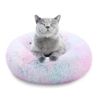 Oval Long Plush Dog Beds Donut Faux Fur Pet Bed Self-Warming Donut Cuddler Comfortable Round Cushion