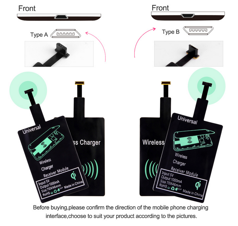 New Qi Wireless Charger Receiver Wireless Charging receiver for ios,for android,for type-c