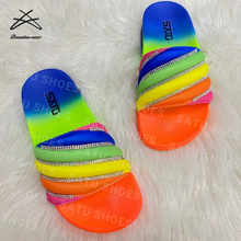 2020 New fashionable style Footwear Rhinestone <strong>slippers</strong> for women lady rainbow colorful slide sandal