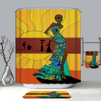 Factory supply custom african design PEVA printing bathroom shower curtain