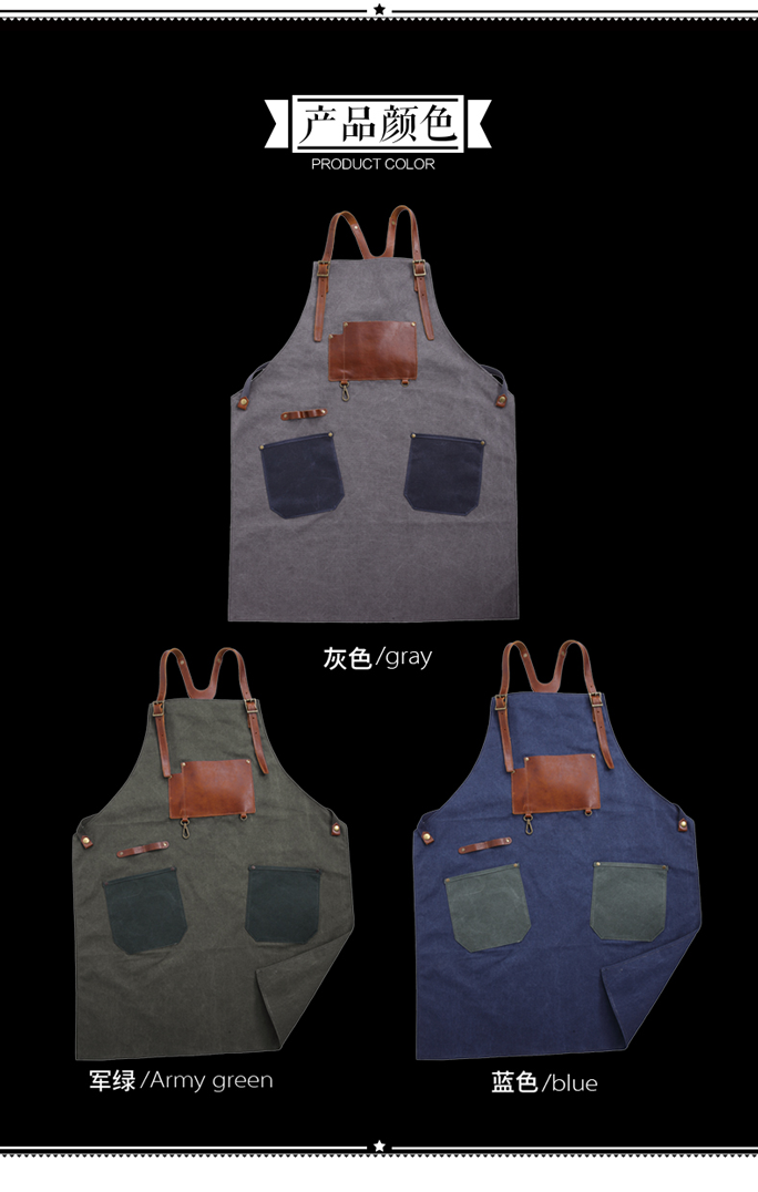 HOT sale canvas apron with genuiner pockets and straps OEM and ODM are welcome
