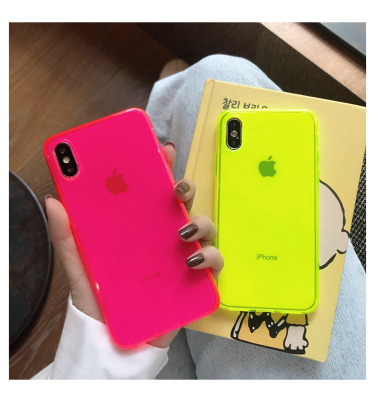 Solid Fluorescent Color Phone Case for iPhone 11 Pro <strong>Max</strong> XR X XS <strong>Max</strong> 7 8 plus SE 2020 2 Back Cover Transparent Custom Soft Cases