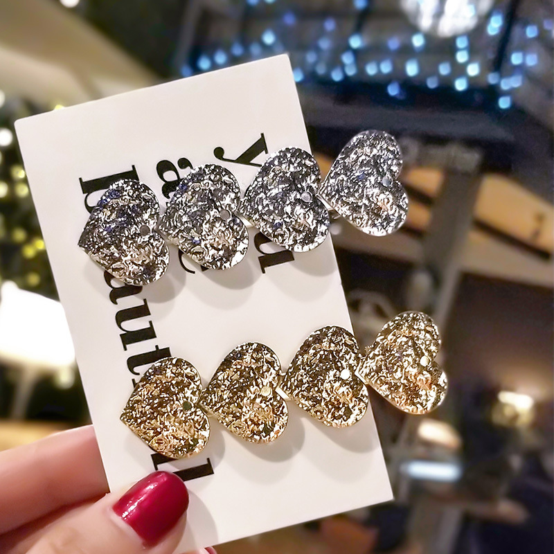 2020 New Korean style crystal hair clip fashion girl's bangs clip metal hair pin heart shaped hairpin for gifts wholesale