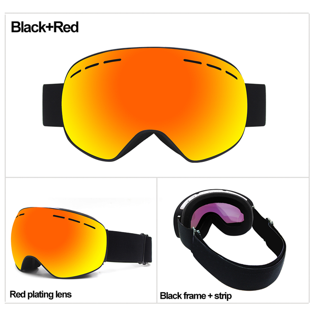 Frameless snowboard goggle mirrored snowboard glasses snow ski goggles