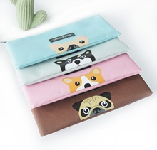 Promotional canvas printed with Cute animals B6 black zipper file pocket for students