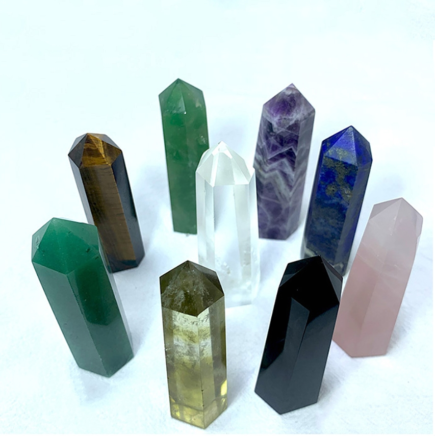Natural Gemstone rose quartz wand Crystal healing stone tower clear quartz crystal <strong>point</strong>