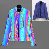 OEM factory custom high quality hi viz blue rainbow reflective safety clothing / reflective jacket for running