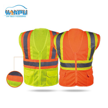 Wholesale 100% Polyester Custom ANSI standards Yellow reflective Safety vest with Pocket