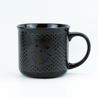 High Quality 450ml black camp mug custom logo screen printing smile face ceramic enamel coffee mug