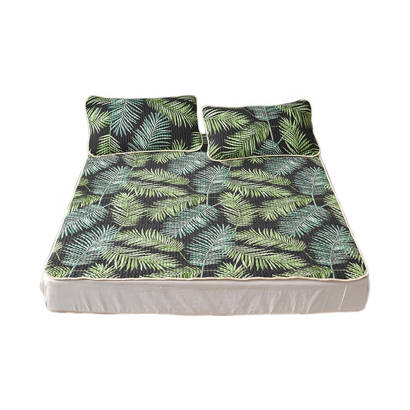 VLSM1024- Nordic Tropical Leaves Ice Silk Natural Quilting Latex Summer Cooling Sleep Mat 150*200 cm 180*200 cm - Jozy Mattress | Jozy.net