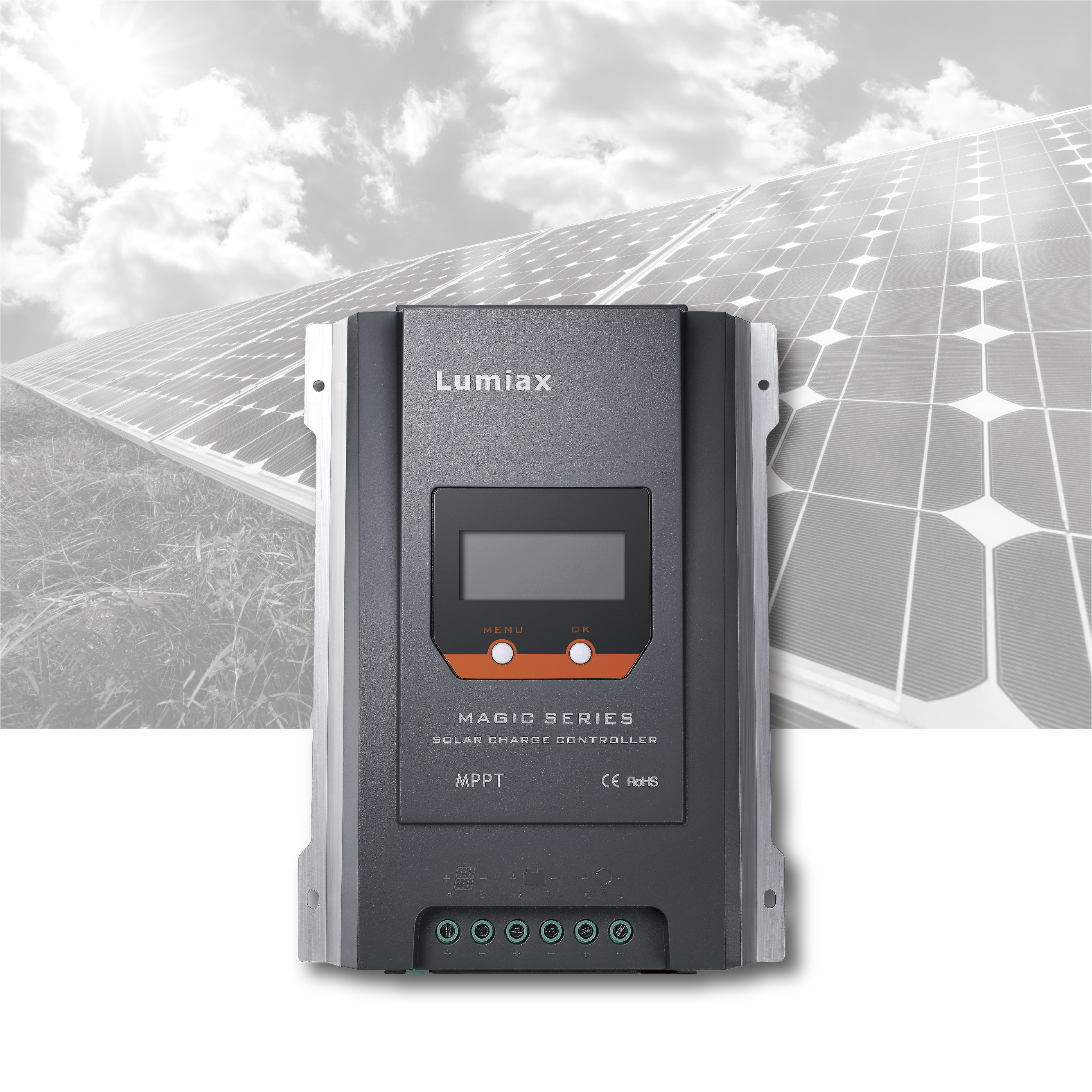 Lumiax 40A 12V 24V mppt solar <strong>charge</strong> <strong>controller</strong> 24v bluetooth lcd display