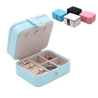 Luxury portable leather jewellery box organizer travel jewelry case with mirror