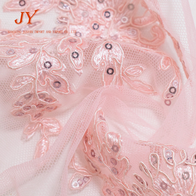 pink color rope embroidery with sequins mesh fabric for wedding dress styles
