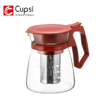 Promotional 1600ml Plastic Handle Stainless Steel Infuser Teapot Glass Flower Teapot