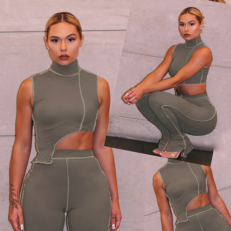 Wholesale 2020 new fashion 2 piece <strong>set</strong> women clothing cut out top stacked flare pants high waist grey <strong>set</strong>