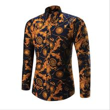 2019 Spring Autumn Plus Size Dress <strong>Shirts</strong> Floral Printed Slim Fit <strong>Shirts</strong> For <strong>Men</strong> Long Sleeve