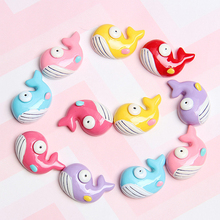 Free Shipping Adorable Multiple Colors Whales Kawaii Craft Animals Slime Charms Making Resin Flatback Cabochons For Diy Crafts