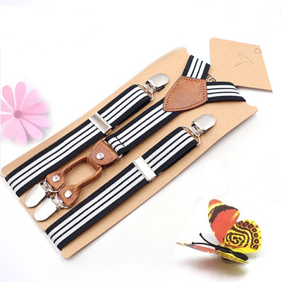 Wholesale Strap children's striped 4 clip <strong>Y</strong>-strap male and female pants suspender <strong>belt</strong>