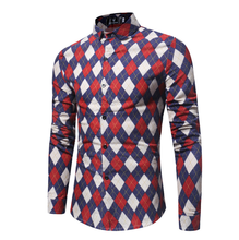 Spring Autumn New <strong>Men's</strong> Flannel Large Size Argyle Plaid Print Long Sleeve Casual <strong>Shirt</strong>
